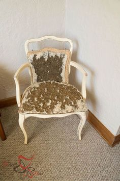 re upholstering those old out dated chairs is not as hard as you think, how to, painted furniture, reupholster