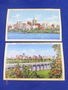Dallas Skyline & Bird's Eye View Business Section Dallas Texas Postcards 1943
