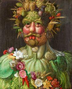 Giuseppe Arcimboldo: Giuseppe Arcimboldo (Italian, ca. Vertumnus (Portrait of Rudolf II), Oil on panel. x cm x 22 in. Giuseppe Arcimboldo, Italian Painters, Italian Artist, Blog Art, Google Art Project, Renaissance Artists, Italian Renaissance, Renaissance Food, Photo Images