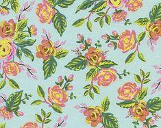 Rifle Paper Co. Jardin de Paris Mint Menagerie Collection Cotton + Steel Fabric Anna Bond Aqua Floral Classic Floral Design Fabric Quilt