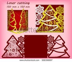 Laser Cut Template Christmas Card Mittens Silhouette For Cutting
