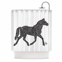 Horsie by Adriana De Leon Horse Illustration Shower Curtain