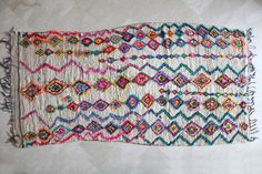 MANUAL of ACCIDENTS & MISTAKES 9'x4' Boucherouite by pinkrugco, bohemian rug