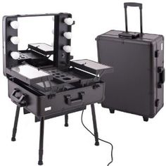 Vanity Suitcase With Lights Acrylic Eyeshadow Organizer & Beauty Care Holder Provides 16 Space