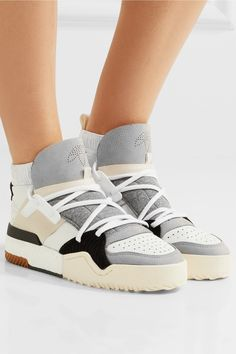 a705d92d88ff7 adidas Originals by Alexander Wang Suede Trimmed Leather High Top Sneakers   260 Adidas Originals