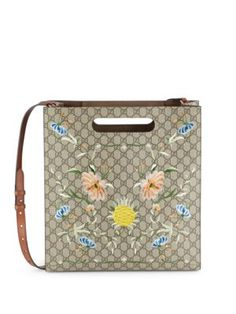 GUCCI Floral Motif Leather Tote. #gucci #bags #tote
