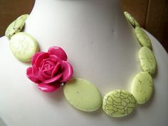 Yellow Statement Necklace, Big Pink Flower & Chunky Stone Beads, Asymmetric Style Beaded Jewelry - Margarita on Etsy, $26.00