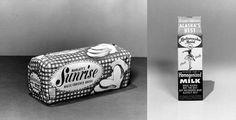 Marlatt's Sunrise White Enriched Bread, 1957. Sunrise Bakery, Anchorage. Closed in 2012. Matanuska Maid Milk, 1957. Matanuska Valley Farmers Co-Op Association, Palmer, Fairbanks, and Anchorage. Still Around.