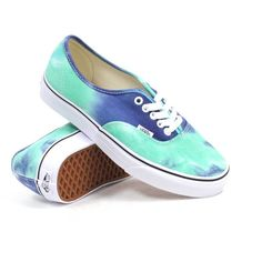 Vans Authentic (Tie Dye Navy/Turquoise) Women's Shoes ($55) ❤ liked on Polyvore featuring shoes, sneakers, vans, waffle shoes, vans footwear, laced shoes, low tops y navy shoes