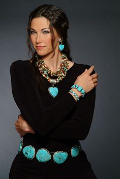 The Museum Store now carries Rocki Gorman American Indian jewelry - For the love of turquoise Equestrian Outfit, Mode Hippie, Look Fashion, Womens Fashion, Fashion Beauty, Estilo Hippie, Look Boho, Elegantes Outfit, American Indian Jewelry