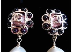 Chanel 08P over sized French plum resin paste pear shaped earrings. **** This is my second pair and is in pristine no flaws condition.VINTAGE-FRANCE-DE-COUTURE by sincere_international