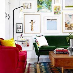 sala, cuadro, sillon, lampara