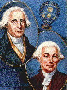The Montgolfier Brothers portraits ---Joseph-Michel Montgolfier and Jacques-Étienne Montgolfier were the inventors of the Montgolfière-style hot air balloon, globe aérostatique.