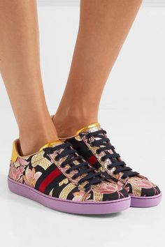 Rubber sole measures approximately 20mm/ 1 inch Multicolored brocade, gold leather Lace-up front  Made in Italy