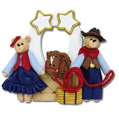Belly Bear Cowboy  Family of 2  Personalized Christmas Ornament