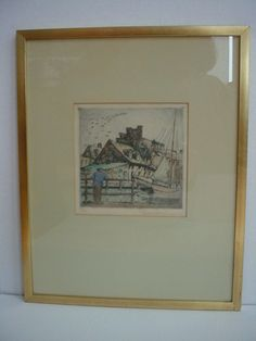 Vintage Signed Colored Etching Ann Street Baltimore by Don Swann