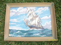 """Vintage Paint by Numbers Ship at Sea, or Sailing Vessel, large 28 x 22"""""""