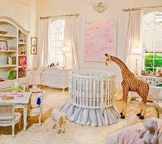 I love the pastel color scheme in a baby room