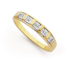 9ct Gold Diamond Princess Band