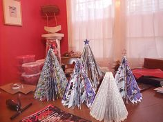 christmas trees made from magazines and catalogs