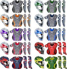 All-Star System 7 Elite Travel Team CK912S7TT Youth Baseball Custom Color Catcher's Gear Set Navy/Scarlet $299