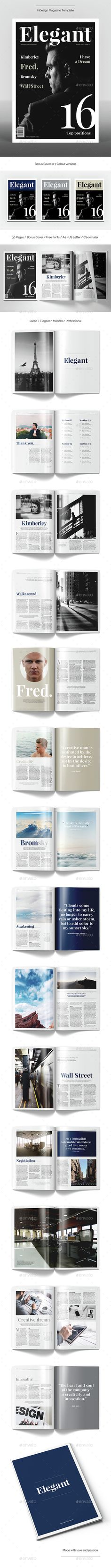 Elegant Magazine Template — InDesign INDD #multipurpose #fashion • Available here → https://graphicriver.net/item/elegant-magazine-template/15322812?ref=pxcr