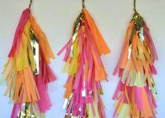 Pink Lemon & Apricot Amazingness Tissue Tassel by EverlyLaneDesign, $60.00 Tassel Garland, Tassels, Tissue Paper Tassel, Pink Lemon, Decor Ideas, Craft Ideas, Confetti Balloons, Pom Poms, Dj
