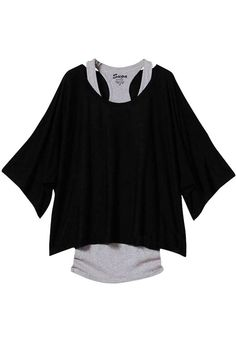 Black Plain Dolman Sleeve 2-in-1 Loose T-Shirt