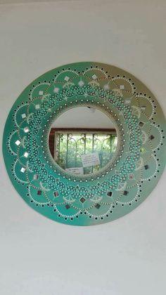Mandala Artwork, Mandala Painting, Concrete Pots, Dot Art Painting, Houseplants, Stained Glass, Decoupage, Frame, Creative