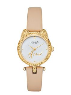 find your feline side with the sleek cat case watch. its pave crystal cat-ear…