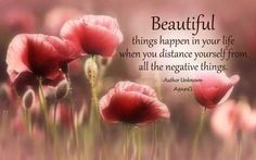 """Beautiful Things Happen In Your Life When You Distance Yourself From All The Negative Things"" #quotes #thoughts #life #positivethoughts"