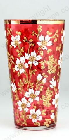 ANTIQUE GLASS: c.1900-1920 MOSER RED FLORAL ENAMELLED & GILT JUICE WATER GLASS. To visit my website click here: http://www.richardhoppe.co.uk or for help or information email us here: info@richardhoppe.co.uk