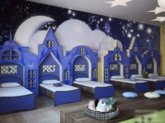 Bedroom in kindergarten childhood dreams Daycare Rooms, Kids Daycare, Home Daycare, Kindergarten Interior, Kindergarten Design, Daycare Design, Kids Room Design, Creative Kids Rooms, Kids Cafe