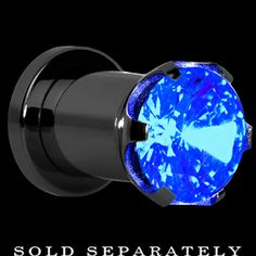 0 Gauge Blue Gem Light Up Plug | Body Candy Body Jewelry