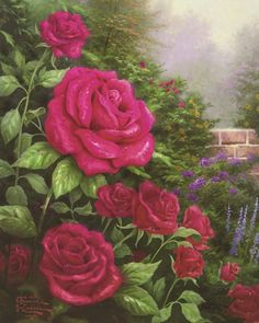 Thomas Kinkade A Perfect Red Rose painting is available for sale; this Thomas Kinkade A Perfect Red Rose art Painting is at a discount of off. Art Floral, Thomas Kinkade Art, Kinkade Paintings, Decoupage, Art Thomas, Beautiful Paintings, Rose Paintings, Amazing Artwork, Paintings Famous