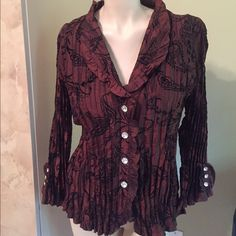 BEAUTIFUL 23 RD ST BROWN BLOUSE SIZE XL  Women's Beautiful 23RD ST. Blouse Excel. Cond. Worn Once. Long Sleeves..with buttons down front.Size XL, 20% OFF BUNDLE OF 3 IN MY CLOSET, CHECK OUT OTHER ITEMS AND SAVE. OFFERS CONSIDERED ON EVERYTHING IN MY CLOSET Tops Blouses