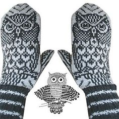 Ravelry: Night Owl mittens pattern by Jorid Linvik love these mittens--but couldn't figure out whether they needed to be in my knitting folder or the owlies folder! Crochet Mittens, Mittens Pattern, Knitted Gloves, Knit Crochet, Crochet Hats, Knitting Charts, Hand Knitting, Knitting Patterns, Knitting Machine