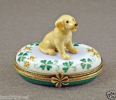 Limoges Box Labrador Dog Puppy with Lucky Clover.