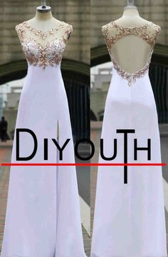 DIYouth.com Real Images Scoop Neck Crystal Sequins A-line Backless Prom Dresses 2015,Sexy Side Slit Chiffon evening Gown,open back prom dress, beading evening dresses, white Cocktail Dresses,Graduation Dresses long,Sweet 16 Dresses