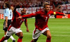 The main man: Beckham was Englands captain and key player by the 2002 World Cup, where he scored a crucial penalty against Argentina David Beckham Soccer, Argentina World Cup, 2002 World Cup, Charming Man, Mirrors Online, Professional Football, Galaxy Print, Soccer Players, Home