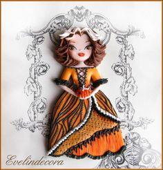 Halloween cookie - Pumpkin doll icing cookie by Evelindecora