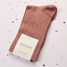 FW14 Aventurine socks - Bois de rose #badelaine #paris #socks #chaussettes #lurex #rosewood #sparkly #madeinfrance