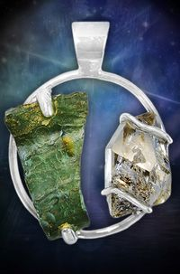 Moldavite and Herkimer Diamond Pendant!