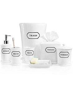 Martha Stewart Collection Porcelain Words Frame Bath Accessories Collection