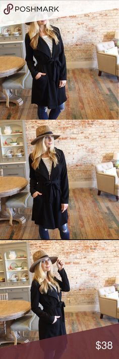 | boutique | jacket Black waterfall jacket. Tie waist. Removable belt. Pockets. I literally just purchased this from Suzanne @scanon and I realized I have some so similar so I'm relisting. Photo credit to Suzanne for first 4 photos. New with tags. 100% polyester Boutique Jackets & Coats