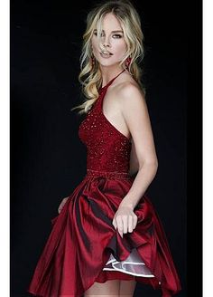Buy discount Glamorous Taffeta & Tulle Halter Neckline A-line Homecoming Dresses with Beadings & Rhinestones at Dressilyme.com