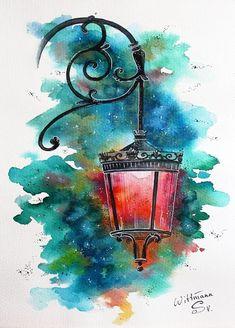 Beautiful streetlight 2 urban architecture sketch lamp original watercolour lantern painting on aquaell paper 19 cm colorful watercolor artwork 7 7 6 quot; Watercolor Paintings For Beginners, Beginner Painting, Watercolor Drawing, Painting & Drawing, Watercolor Art Paintings, Art Carte, Urban Architecture, Drawing Architecture, Painting Inspiration