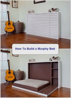 A Murphy bed, also known as a wall bed or pull-down bed, is a hinged bed that can be stored away easily. Pick one of these murphy bed plans to suit you. Build A Murphy Bed, Best Murphy Bed, Murphy Bed Desk, Murphy Bed Plans, Cama Tatami, Cama Murphy Ikea, Murphy-bett Ikea, Hideaway Bed, Diy Bett