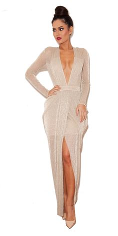 Clothing : Max Dresses : 'Blanca' Nude Shimmer Sheer Chiffon Maxi Dress