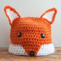 Fox Beanie Hat Child's Sized Orange and White Crochet Beanie Hat Made to order by MadebyMessymuppet on Etsy